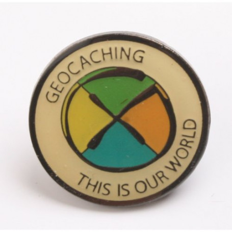 Pin - Geocaching: This is our World, black nickel