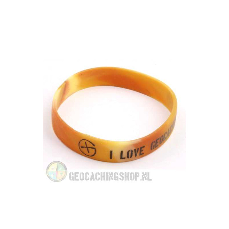 Wristband - I Love Geocaching camo brown