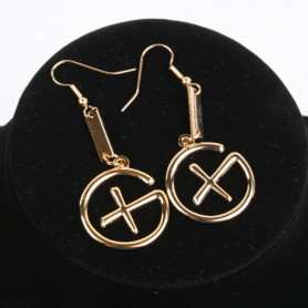 Geocaching - Earrings - pendant trackable - gold