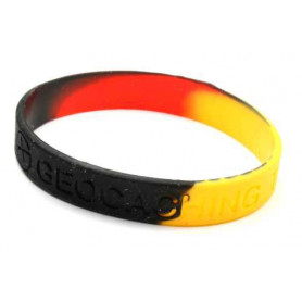 Wristband - Geocaching, this is our world - black, yellow, red