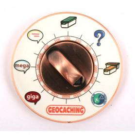 Cache Clock Geocoin - AC yellow - XLE