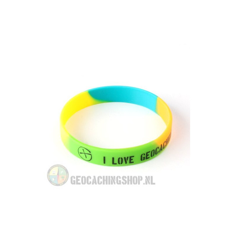 Wristband - I Love Geocaching multi color