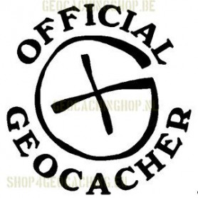 Official Geocacher Sticker 7,5 cm zwart
