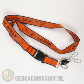 Lanyard I Love Geocaching - Orange