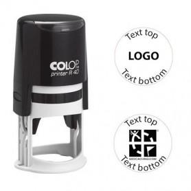 Log stempel - Printer - 40 mm rond - Eigen tekst/logo
