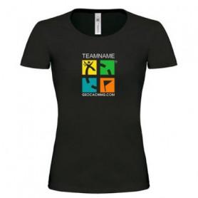 T-Shirt Groundspeak Logo Vrouwen met Teamnaam (kleur)