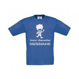 Junior Geocacher kids T-shirt with Name (blue)