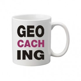 Koffie + thee mok: Geocaching letters paars