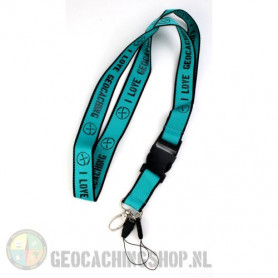 Keycord I Love Geocaching - Aquablauw