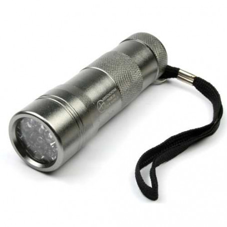 UV flashlight 12 LED silver, incl batteries