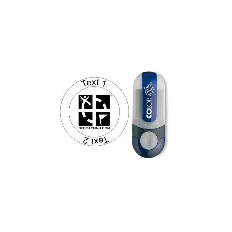 Groundspeak Logo - Stempel met tekst, Ø 25mm (Nr. 01)