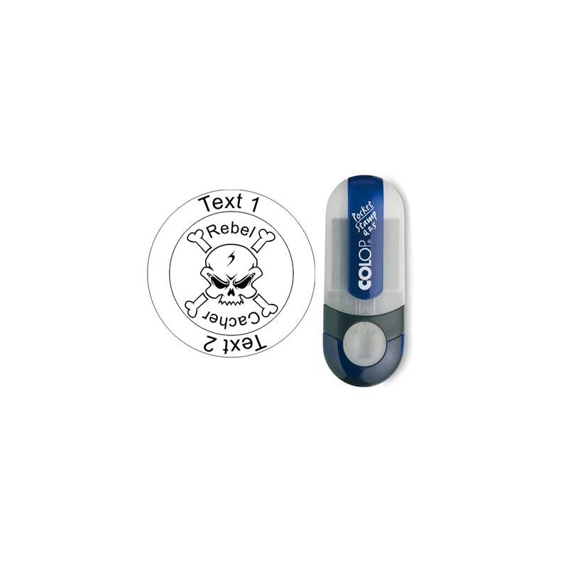 Log stamp - Rebel Cacher - 25 mm round