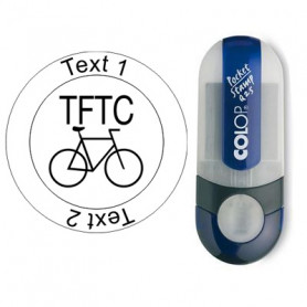 TFTC Fiets - Stempel met tekst, rond Ø 25mm (Nr. 15)