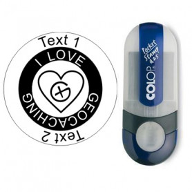 Geocaching Heart- stamp with text, round Ø 25mm (Nr. 20)