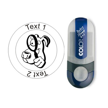 Cacher-Dog, stamp with text, round Ø 25mm (Nr. 50)