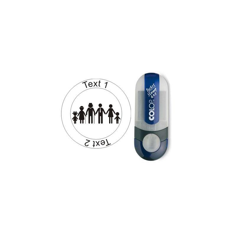 Caching Family - Stempel met tekst, Ø 25mm (Nr. 51)