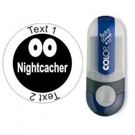Nightcacher - stempel met tekst, rond Ø 25mm (Nr. 64)