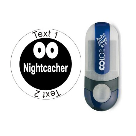 Nightcacher - stempel met tekst, rond Ø 25mm (Nr. 64)