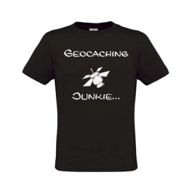Geocaching Junkie, T-Shirt (schwarz)