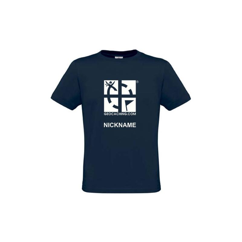Groundspeak Logo, T-Shirt mit Name (blau)
