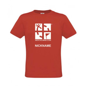 Groundspeak Logo, T-Shirt with teamname (red)