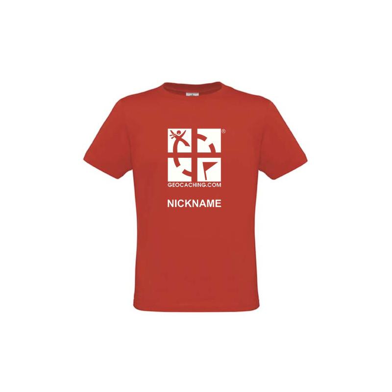 Groundspeak Logo, T-Shirt mit Name (rot)