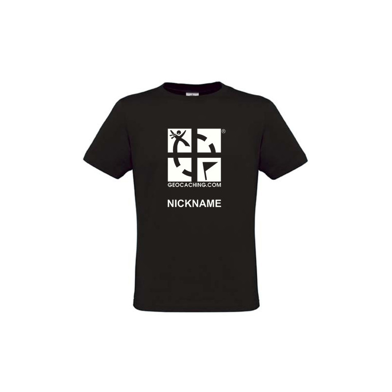 Groundspeak Logo, T-Shirt mit Name (schwarz)