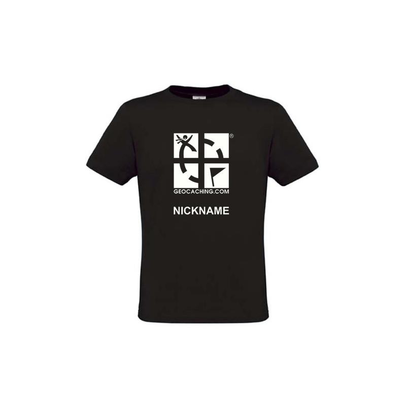 Groundspeak Logo, T-Shirt with teamname (black)