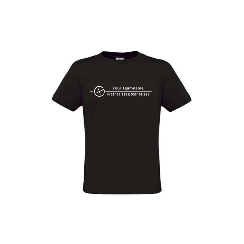 Logo + Koordinaten , T-Shirt (schwarz)