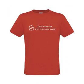 Logo + Koordinaten, T-shirt (rot)