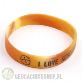 Armband - I Love Geocaching camo braun