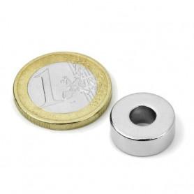 1st 15 mm Rond x 5 mm met 6 mm gat Neodym Magneet