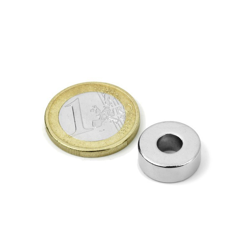 1pc 15 mm Round x 5 mm with 6 mm hole Neodym Magnet