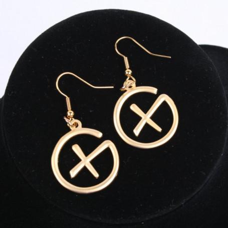 Geocaching - Earrings - pendant - satin gold