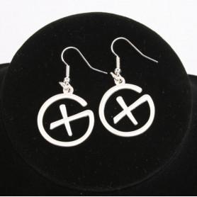 Geocaching - Earrings - pendant - satin silver