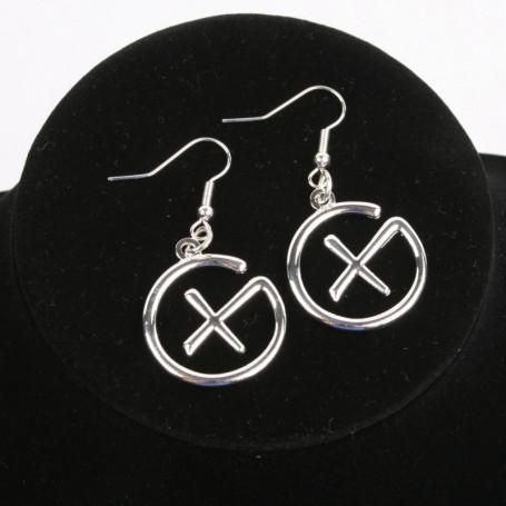 Geocaching - Earrings - pendant - silver