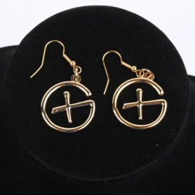 Geocaching - Earrings - pendant - goud