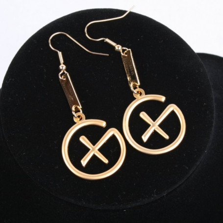 Geocaching - Earrings - pendant trackable - satin gold