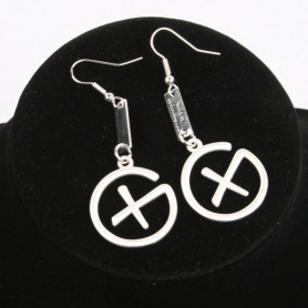 Geocaching - Earrings - pendant trackable - satin silver
