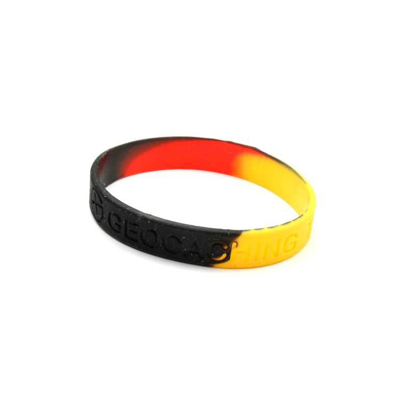 Armband - Geocaching, this is our world - zwart, geel, rood
