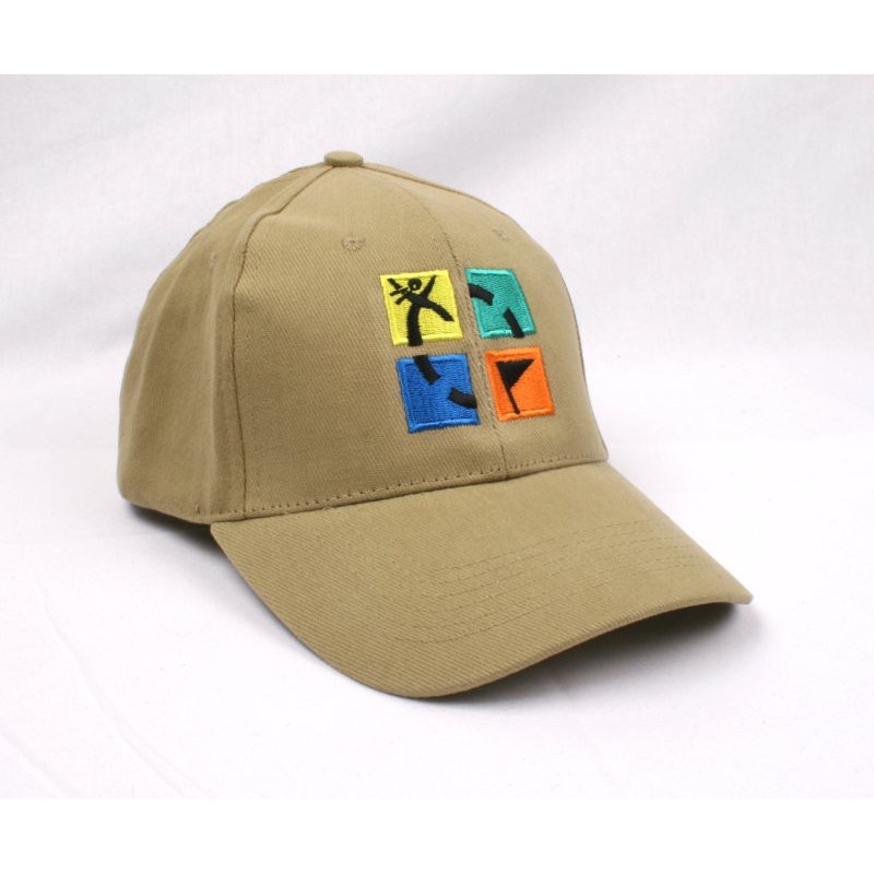 Hat, khaki with geocaching logo