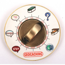 Cache Clock Geocoin - AB Red- RE