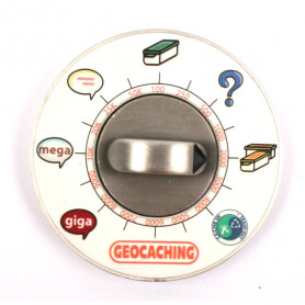Cache Clock Geocoin - AS green - LE