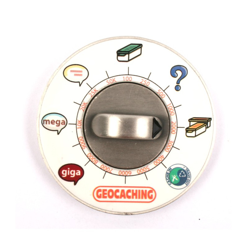 Cache Clock Geocoin - AS green - LE