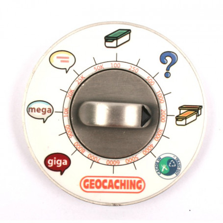Cache Clock Geocoin - AS groen - LE
