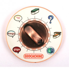 Cache Clock Geocoin - AC yellow - XLE