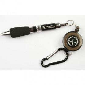 Pen met uittrekkoord en karabijnhaak zwart