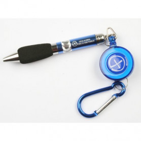Pen, retractable with carabiner, blue