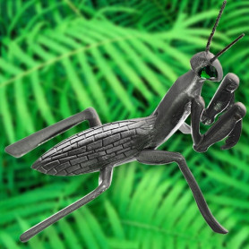 Praying Mantis - antique silver