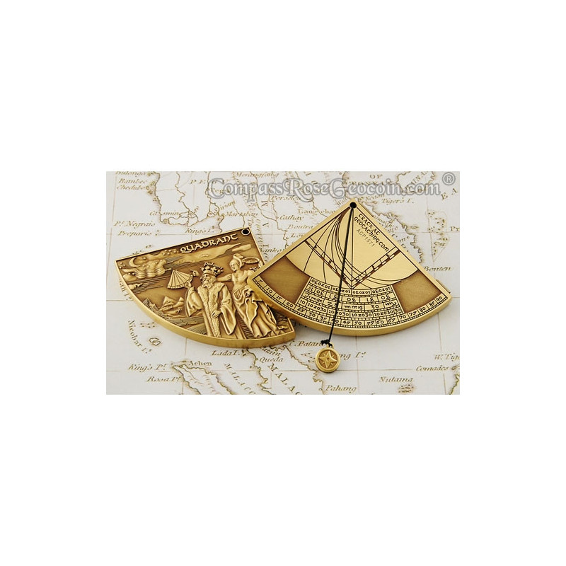 Kwadrant Geocoin Antiek Brons